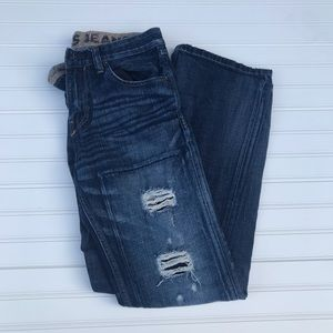 Express Jeans low rise distressed ripped jeans